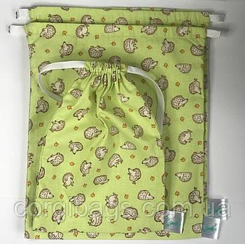 Многоразовые хлопковые мешочки, экомешочки для хранения продуктов, мешочки из хлопка для подарков , набір 3 шт