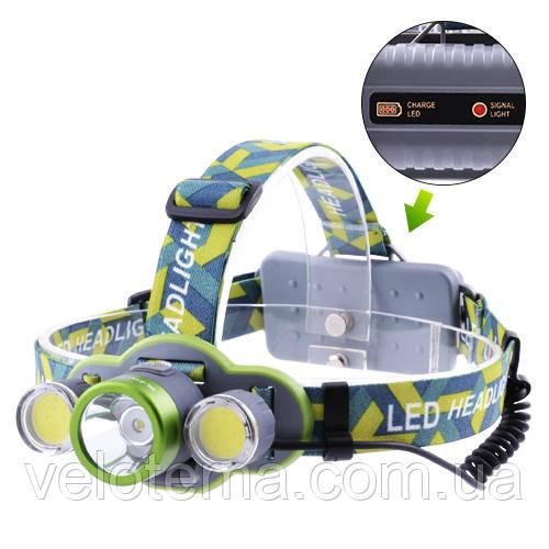 Супер яскравий Ліхтар налобний ЗУ micro USB, 2х18650/3xAA, індикація заряду, signal light, Box