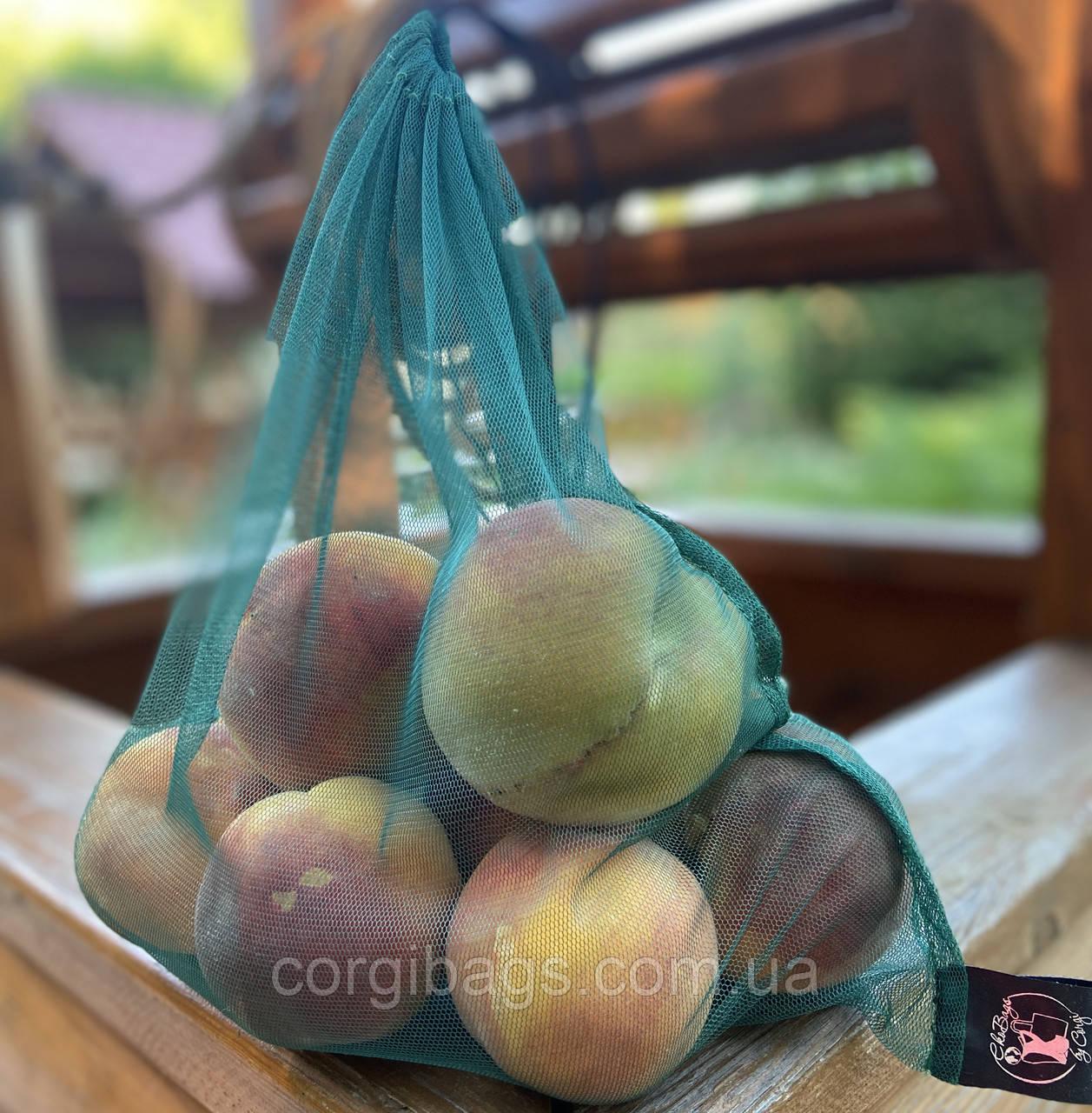 Многоразовые мешочки для продуктов из сетки, экомешочки для овощей, фруктовки, размер L(30X35), зелёный