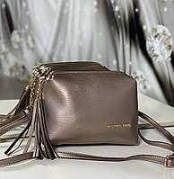 Бронзовая женская сумка на цепочке небольшая сумочка через плечо бронза кожзам, фото 1