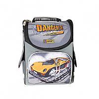 Рюкзак школьный каркасный для мальчика с машинами (ортопедический, ранец для школьников)