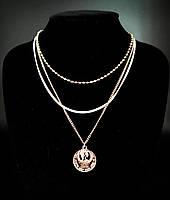 Колье цепочки 3 в 1 с 2 медальонами  (цвет золото)