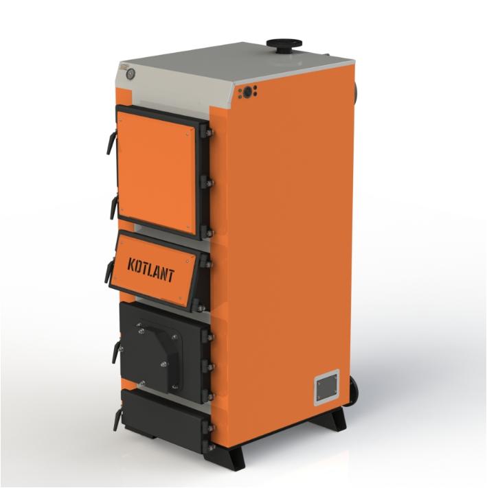Твердотопливный котел длительного горения Kotlant КГУ-75 кВт с механическим регулятором тяги