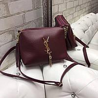 Женская небольшая сумка через плечо бордовая кросс-боди модная сумочка кожзам, фото 1