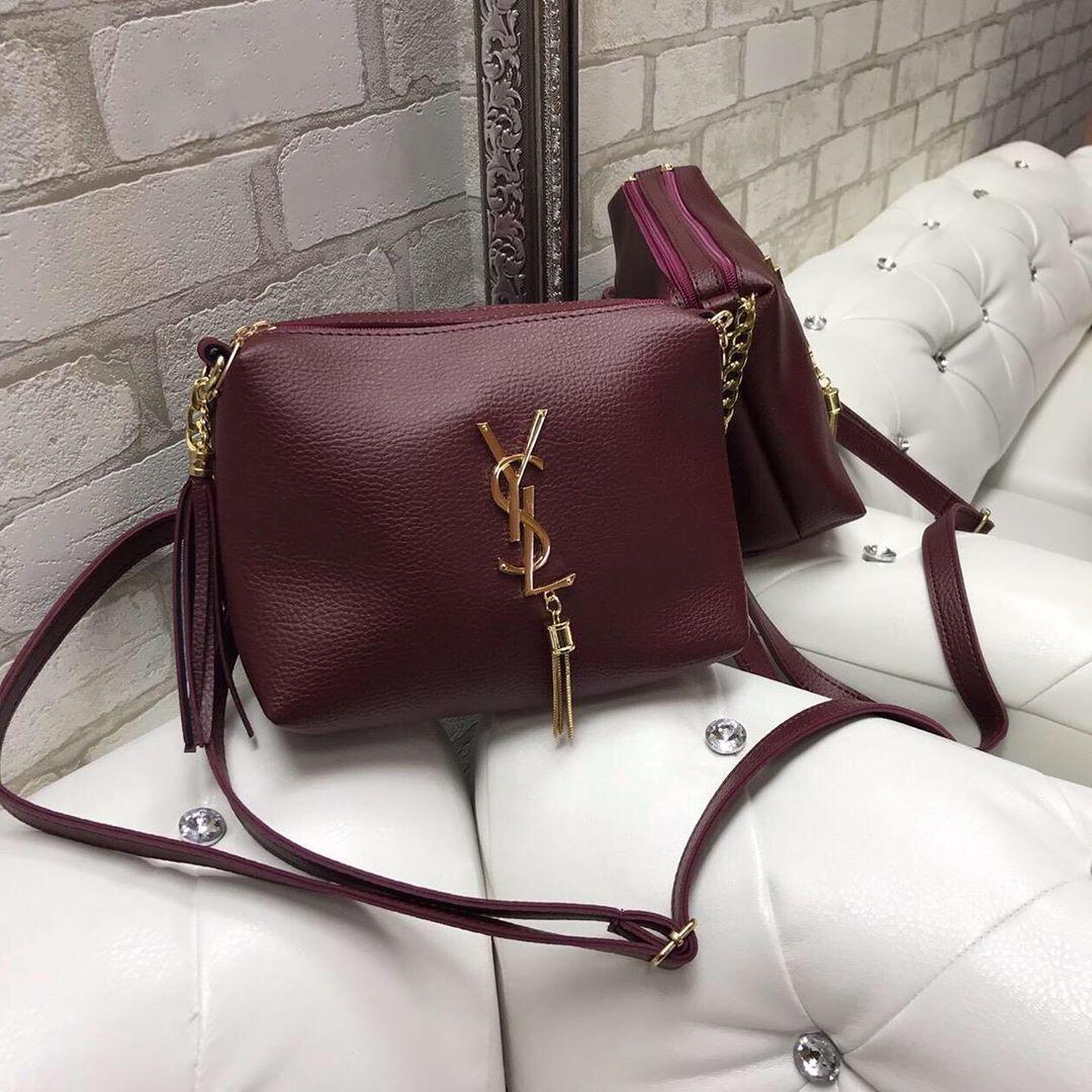 Женская небольшая сумка через плечо бордовая кросс-боди модная сумочка кожзам