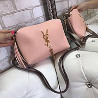 Розовая женская сумка на цепочке небольшая сумочка через плечо пудра кожзам, фото 1