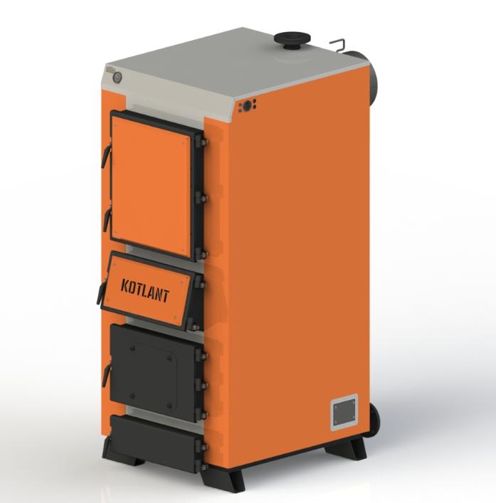 Твердопаливний котел тривалого горіння Kotlant КДУ-95 кВт з механічним регулятором тяги