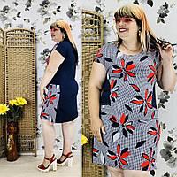Женское платье в принт, высокого качества с коротким рукавом  (50-58), фото 1