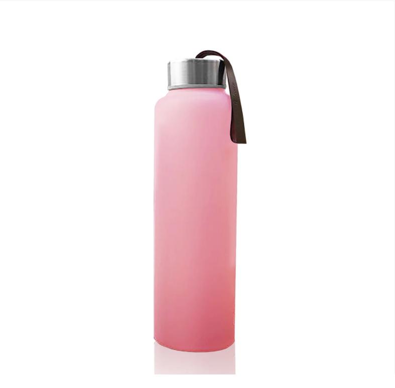 Стеклянная бутылка для воды с силиконовой защитой everyday baby 400мл. цвет розовый