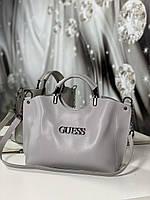 Женская сумка серая небольшая на плечо модная городская сумочка шоппер экокожа, фото 1