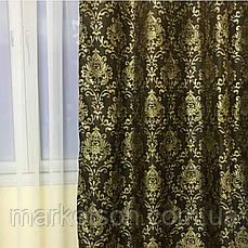 Готовые шторы жаккардовые 150х270 Коричневые, фото 3