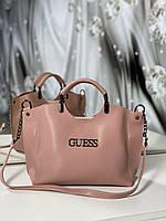 Женская сумка небольшая на плечо модная городская сумочка шоппер пудровая экокожа, фото 1