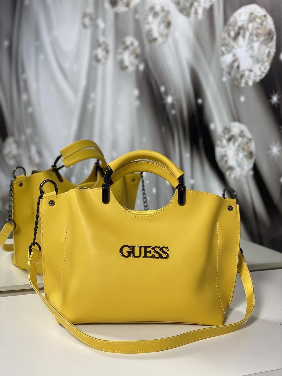 Женская сумка небольшая на плечо модная городская сумочка шоппер желтая экокожа