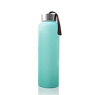 Стеклянная бутылка для воды с силиконовой защитой everyday baby 400мл. цвет мятный