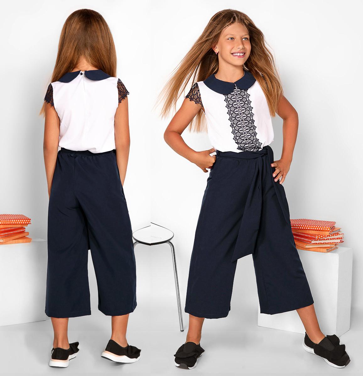 """Детские стильные брюки 418 """"Креп Кюлот"""" в школьных расцветках"""