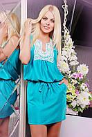 Летнее короткое платье IR Прошва  цвета: мята | бирюза