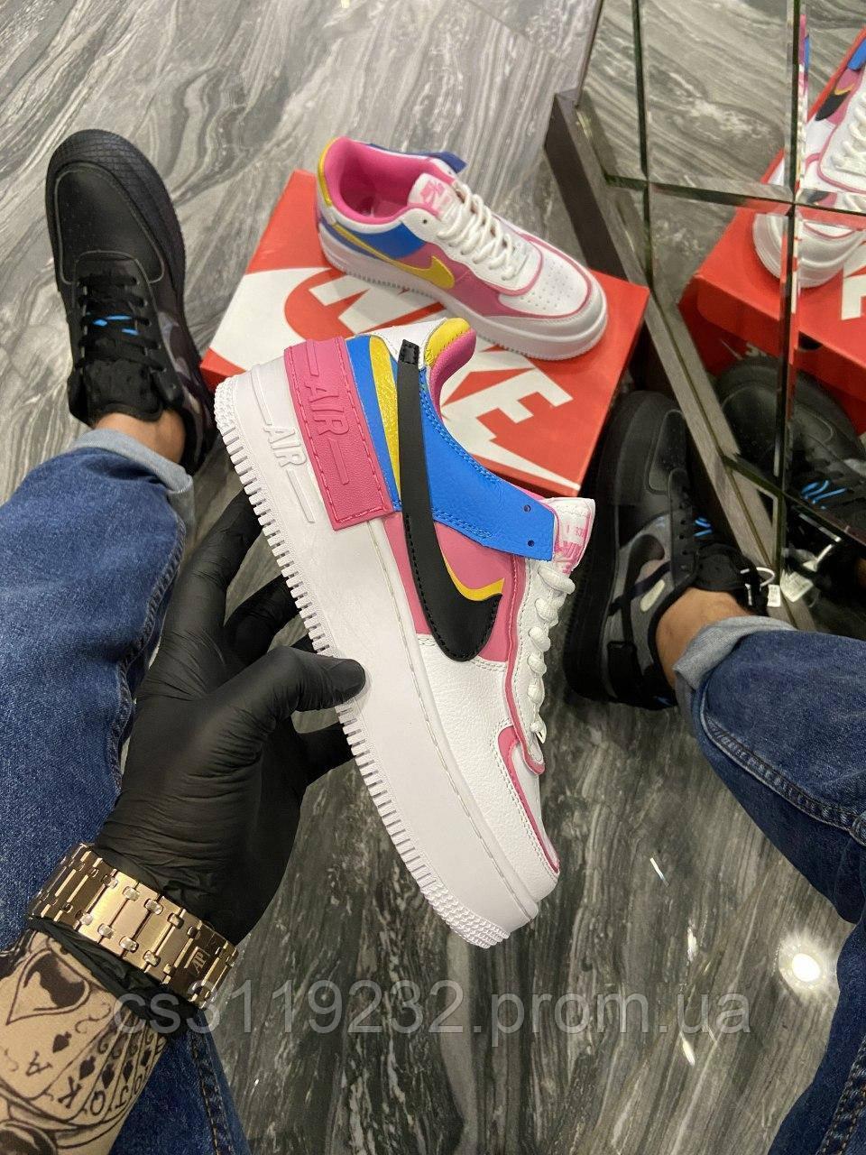 Женские кроссовки Nike Air Force 1 Shadow Blue Pink Yellow (белый/розовый)