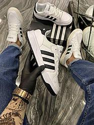 Мужские кроссовки Adidas Forum White Black (белые)