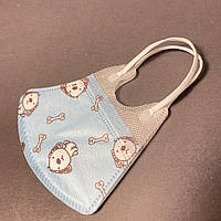 Маска детская защитная для лица до 3 лет голубая с собачками
