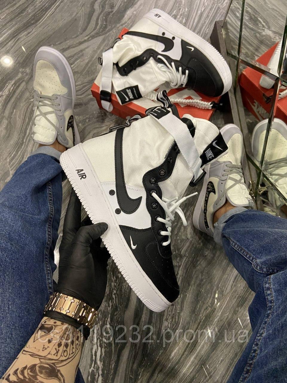 Мужские кроссовки Nike Air Force Special Field White Black (черно-белые)