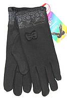 Женские стрейчевые перчатки с гипюровой нашивкой