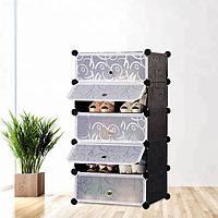 Шафа пластиковий для взуття Storage Cube Cabinet «А1-5 Чорний, фото 1