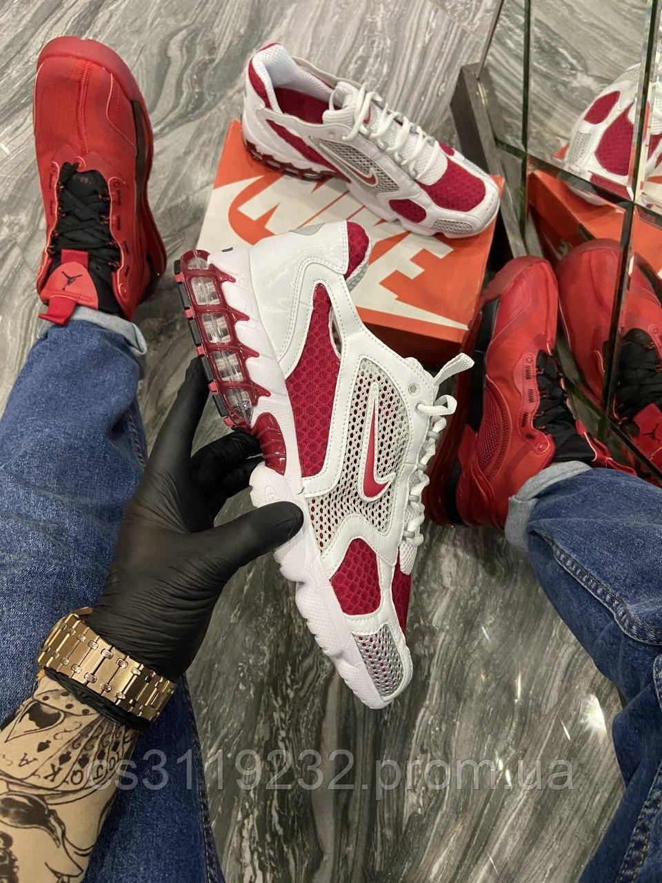 Мужские кроссовки Nike Air Zoom Spiridon Cage 2 Stussy White Red (белый/красный)