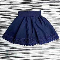 Розкльошена шкільна спідниця для дівчинки 7-11 років, темно-синього кольору