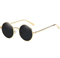 Очки New солнцезащитные круглые черные в золотой оправе