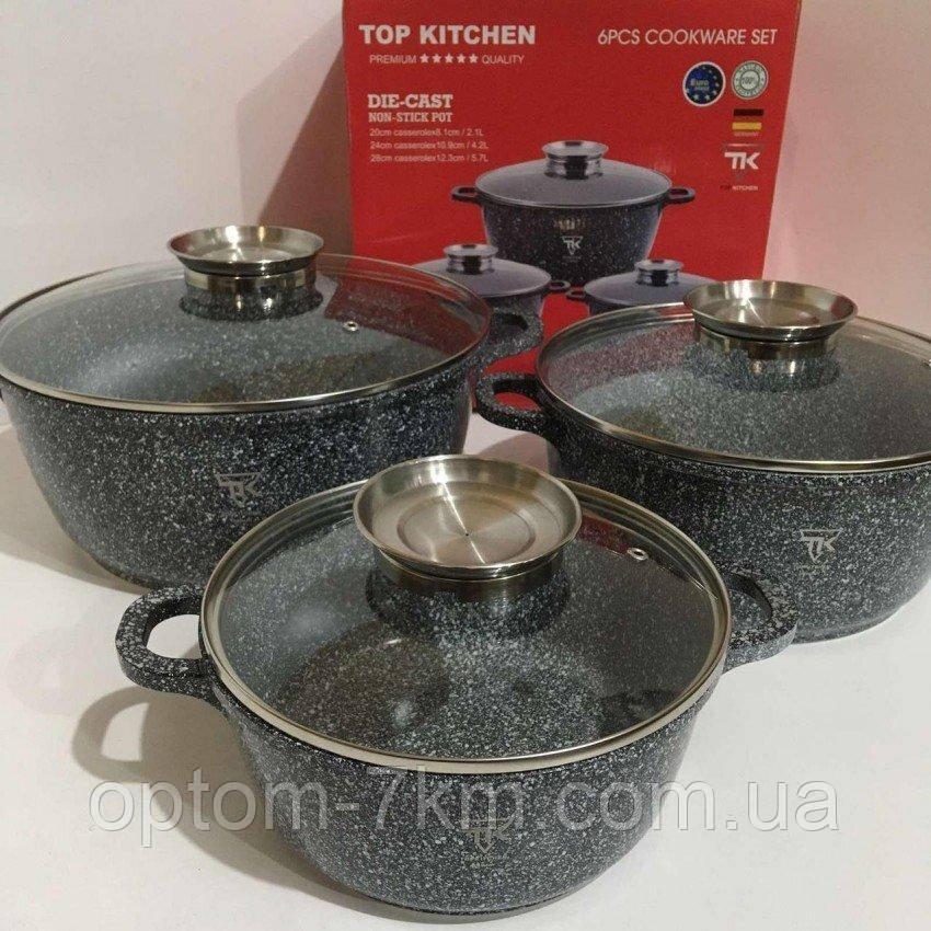 Набір каструль Top Kitchen TK00021 6 предметів (бордо, сірий, чорний) Np