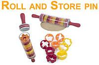 Скалка для теста Roll and Store Pin с формами + ПОДАРОК: Брелок с паракордом ультрафиолетовый лазер и фонарик