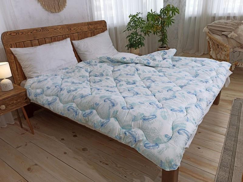 Одеяло лебяжий пух голубое зимнее 200х220 евро