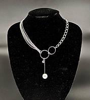 Колье цепочка с жемчужиной и камнем (цвет серебро)