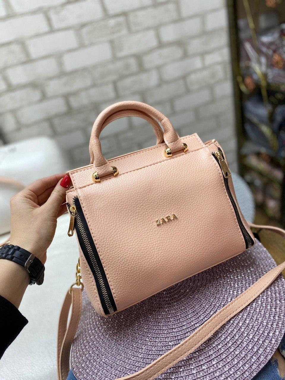 Пудровая женская сумка средняя сумочка классическая деловая небольшая кожзам