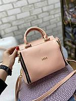 Пудровая женская сумка средняя сумочка классическая деловая небольшая кожзам, фото 1