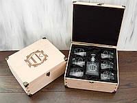 Стеклянный набор графин и стаканы для виски с именной гравировкой в подарок мужчинам
