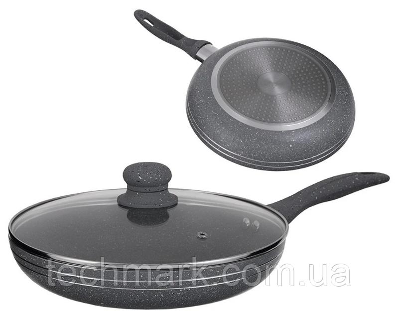 Сковорода 28 см Edenberg с антипригарным мраморным покрытием и крышкой (EB-788)