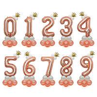 Шар фольгированный цифра розовое золото с короной