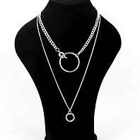 Колье цепочки 2 в 1 с подвесками кругами (цвет серебро)