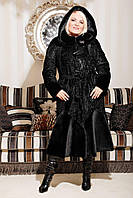 Искусственная шубка женская М-101 черный каракуль 44-58 размеры