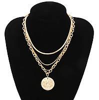 Колье цепочки 4 в 1 с медальоном (цвет золото)