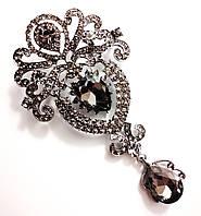 Брошь 9,5*5см корона с подвеской Crystal (черные бриллианты серый), фото 1