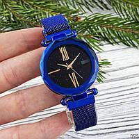 Годинники жіночі наручні кварцові Geneva Сині з чорним циферблатом
