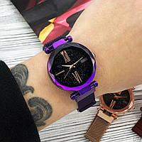 Годинники жіночі наручні кварцові Geneva Фіолетові з чорним циферблатом