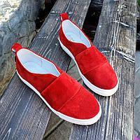 Повседневные слипоны женские замшевые лето-весна красные, летняя обувь 2020