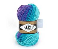 Пряжа Alize LanaGold Batik 100гр - 240м (3927 Разноцветная) 51% акрил, 49% шерсть, Турция
