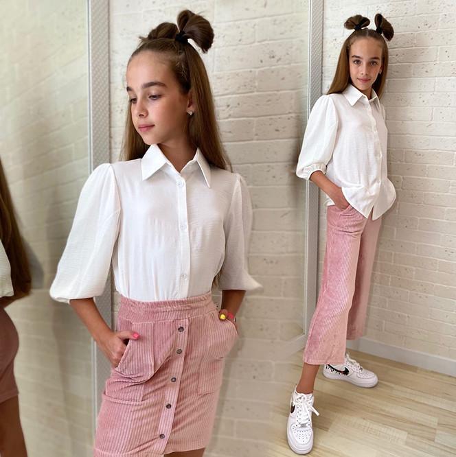 """Детская школьная блузка-рубашка для девочек 560 """"Жатка Рукава Фонарик"""" в расцветках"""