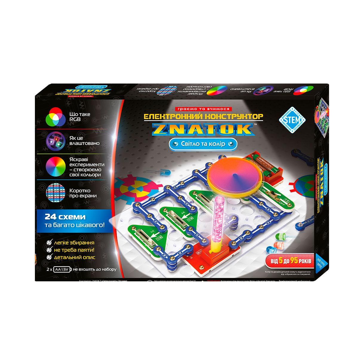 Электронный конструктор ТМ Знаток Znatok Свет И Цвет 24 световые схемы. Полезный подарок детям от 5 лет