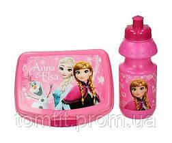 """Набір """"Frozen (Фроузен: Ганна і Ельза)"""". Ланч бокс (ланчбокс) + пляшка, колір рожевий, фото 2"""