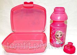 """Набір """"Frozen (Фроузен: Ганна і Ельза)"""". Ланч бокс (ланчбокс) + пляшка, колір рожевий, фото 3"""